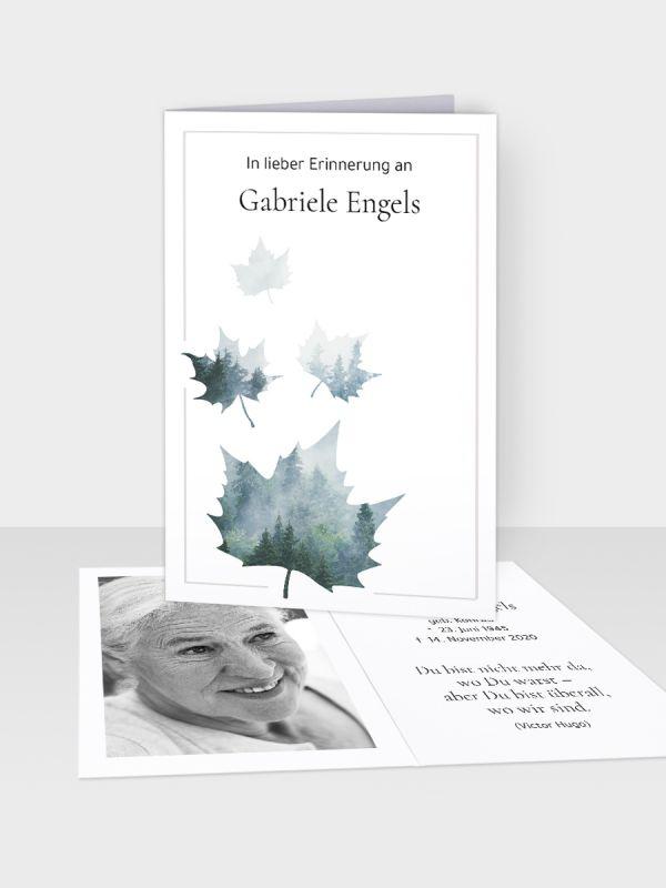 Erinnerungsbild - Kleinere Klappkarte mit Trauerbild/Sterbebildchen (74 x 105 mm)   Motiv Nebelblatt   EB_001