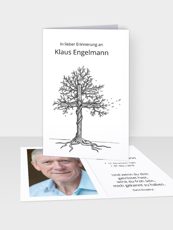 Erinnerungsbild - Kleinere Klappkarte mit Trauerbild/Sterbebildchen (74 x 105 mm)   Motiv Baum-Kreuz   EB_002
