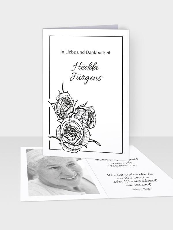 Erinnerungsbild - Kleinere Klappkarte mit Trauerbild/Sterbebildchen (74 x 105 mm)   Motiv Rosenbouquet   EB_007