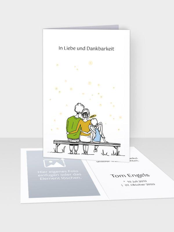 Erinnerungsbild - Kleinere Klappkarte mit Trauerbild/Sterbebildchen (74 x 105 mm)   Motiv Forever Family - Junge   Paar (m/w) u. Sohn