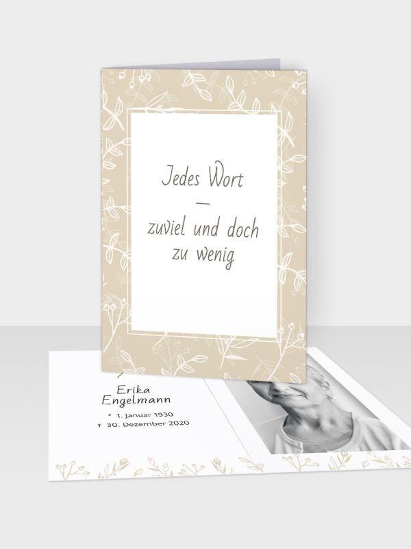 Erinnerungsbild - Kleinere Klappkarte mit Trauerbild/Sterbebildchen (74 x 105 mm)   Motiv Gestreute Zweige   EB_022