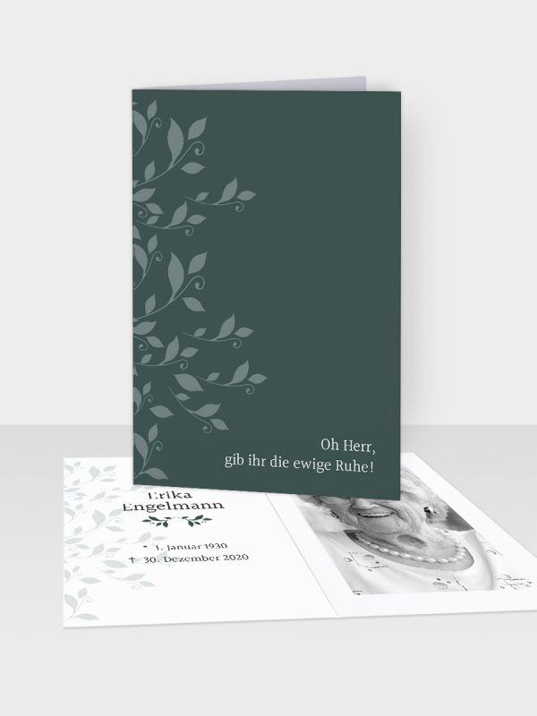 Erinnerungsbild - Kleinere Klappkarte mit Trauerbild/Sterbebildchen (74 x 105 mm)   Motiv Rank-Ornamente   EB_023