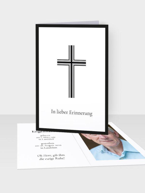 Erinnerungsbild - Kleinere Klappkarte mit Trauerbild/Sterbebildchen (74 x 105 mm)   Motiv Kreuz mit Doppelkontur   EB_027