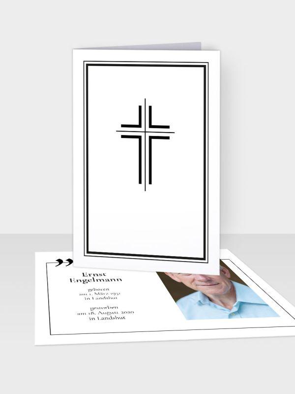 Erinnerungsbild - Kleinere Klappkarte mit Trauerbild/Sterbebildchen (74 x 105 mm)   Motiv Kreuz (schmal) mit Zitat   EB_028
