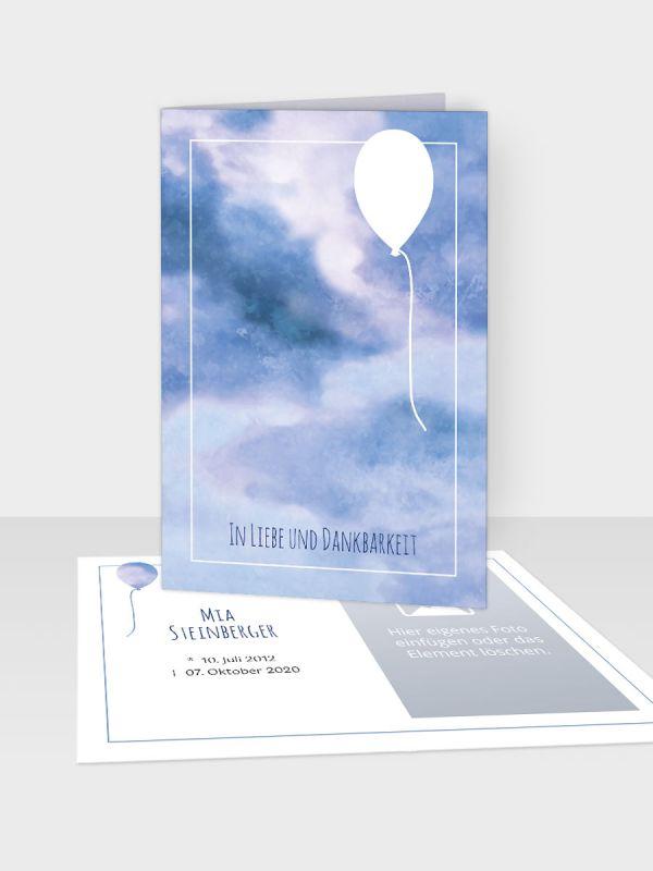 Erinnerungsbild - Kleinere Klappkarte mit Trauerbild/Sterbebildchen (74 x 105 mm)   Motiv Luftballon   EB_030