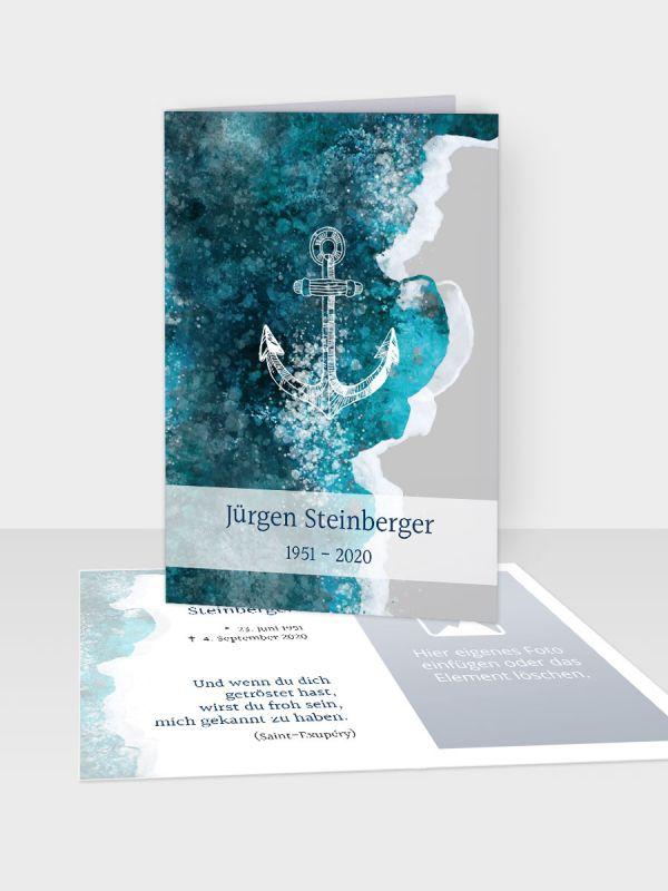 Erinnerungsbild - Kleinere Klappkarte mit Trauerbild/Sterbebildchen (74 x 105 mm)   Motiv Individuell   EB_029