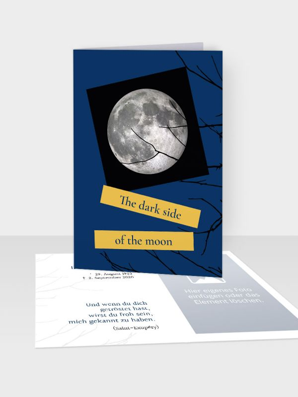 Erinnerungsbild - Kleinere Klappkarte mit Trauerbild/Sterbebildchen (74 x 105 mm)   Motiv Sternenhimmel   EB_032