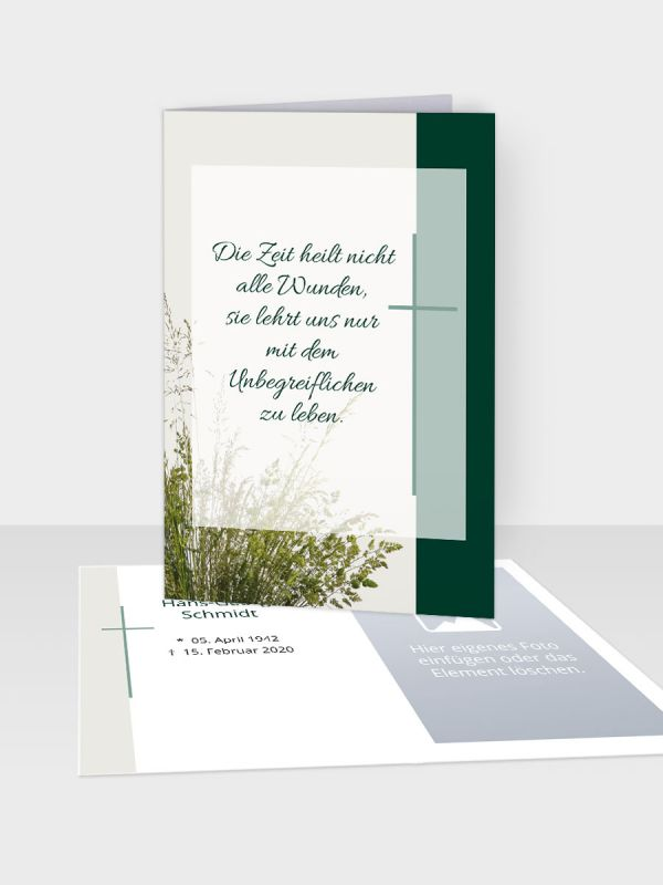 Erinnerungsbild - Kleinere Klappkarte mit Trauerbild/Sterbebildchen (74 x 105 mm)   Motiv Gräser (gebündelt)   EB_036