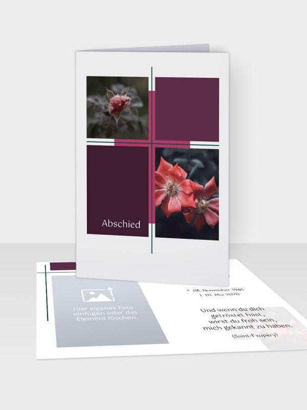 Erinnerungsbild - Kleinere Klappkarte mit Trauerbild/Sterbebildchen (74 x 105 mm)   Motiv Herbarium   EB_037