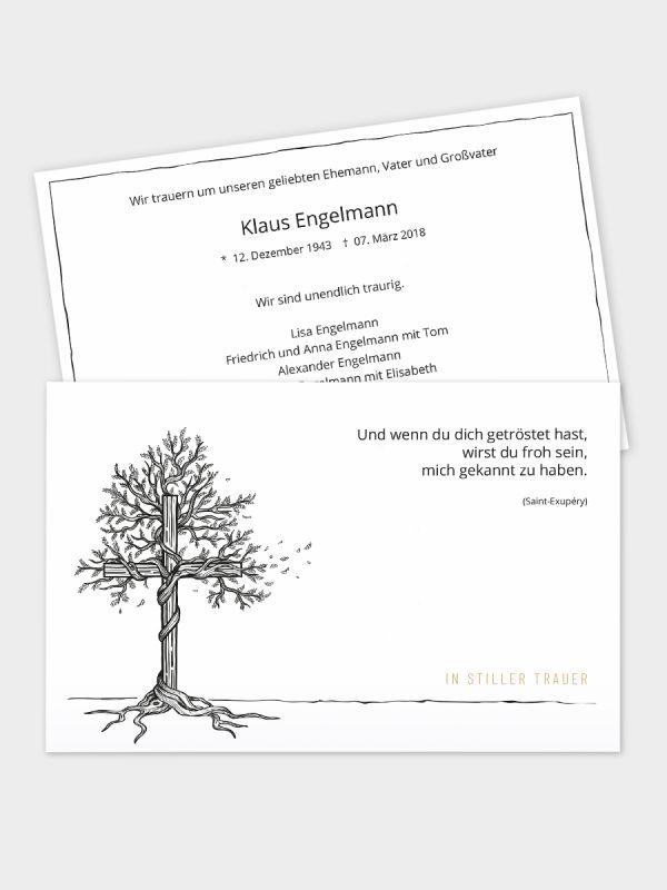 2-seitige Trauerkarte im klassischen Querformat  (178 x 115 mm)   Motiv Baum-Kreuz   TKK_2Q_002