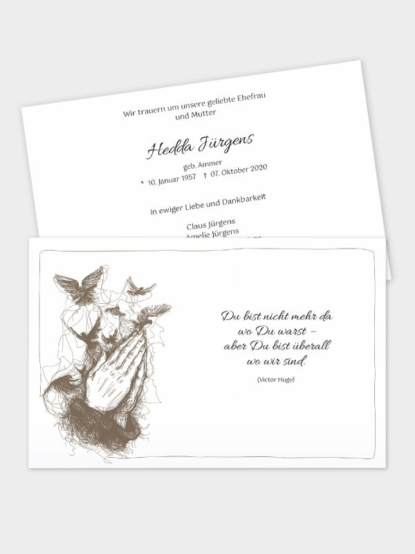 2-seitige Trauerkarte im klassischen Querformat (178 x 115 mm)   Motiv Betende Hände (künstlerisch)   TKK_2Q_003