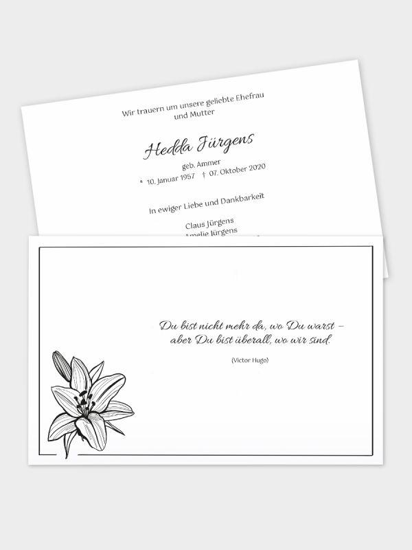 2-seitige Trauerkarte im klassischen Querformat (178 x 115 mm)   Motiv Lilie  TKK_2Q_005