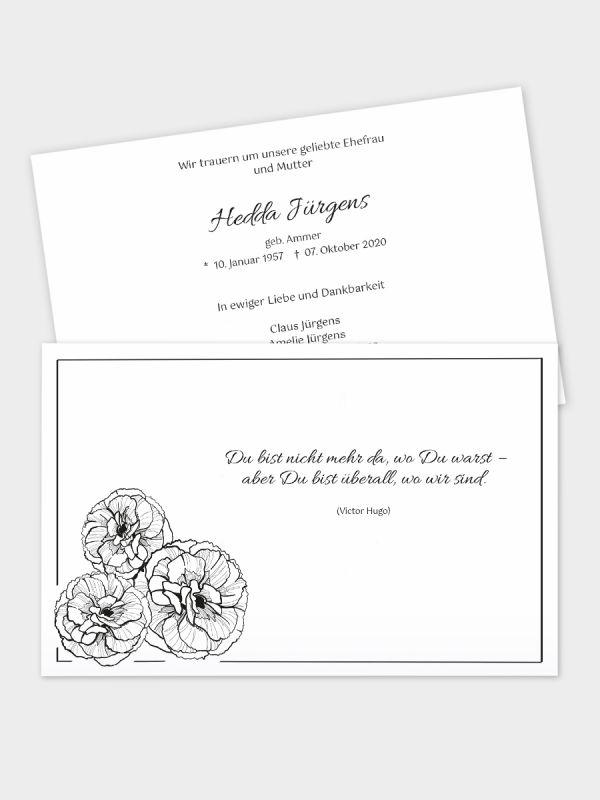 2-seitige Trauerkarte im klassischen Querformat (178 x 115 mm)   Motiv Nelken   TKK_2Q_006