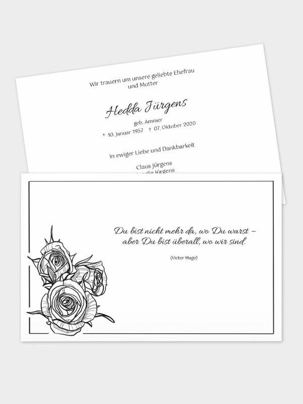 2-seitige Trauerkarte im klassischen Querformat (178 x 115 mm)   Motiv Rosenbouquet   TKK_2Q_007