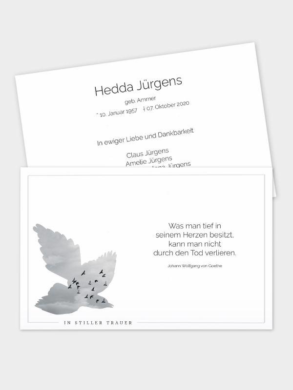 2-seitige Trauerkarte im klassischen Querformat (178 x 115 mm)   Motiv Vogelschwarm   TKK_2Q_008