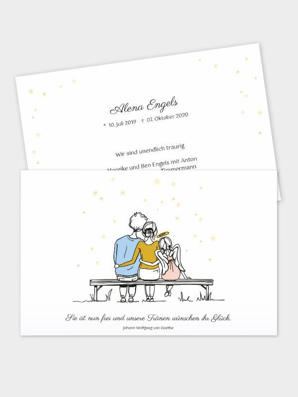 2-seitige Trauerkarte im klassischen Querformat (178 x 115 mm)   Motiv Forever Family -  Mädchen   Paar (m/w) u. Tochter