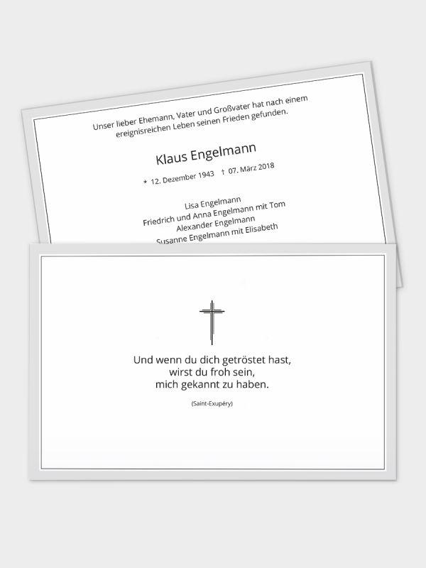 2-seitige Trauerkarte im klassischen Querformat (178 x 115 mm)   Motiv Trauerrand Grau   TKK_2Q_016