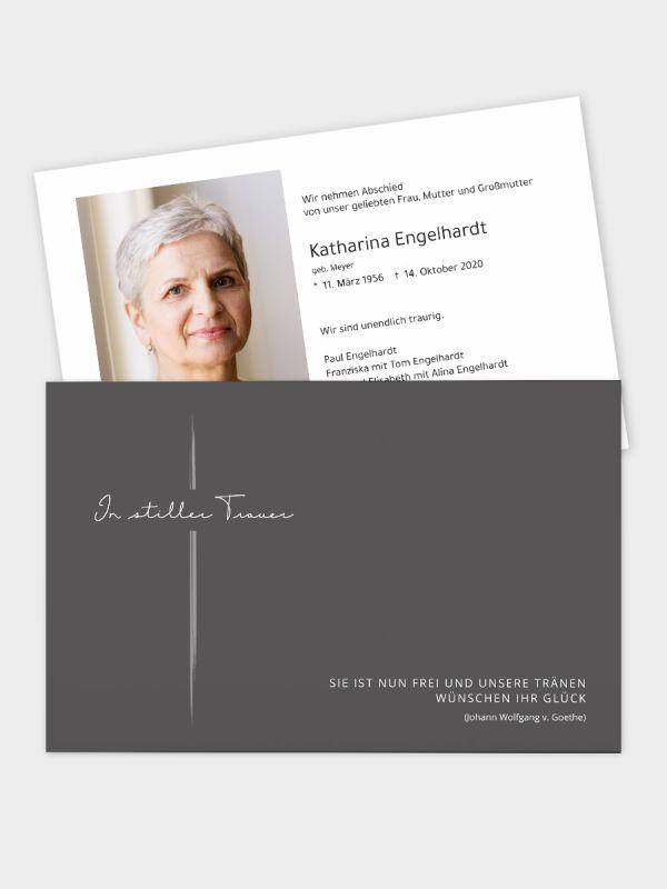 Trauerkarte im klassischen Querformat   Motiv Pinselstrich   TKK_2Q_018