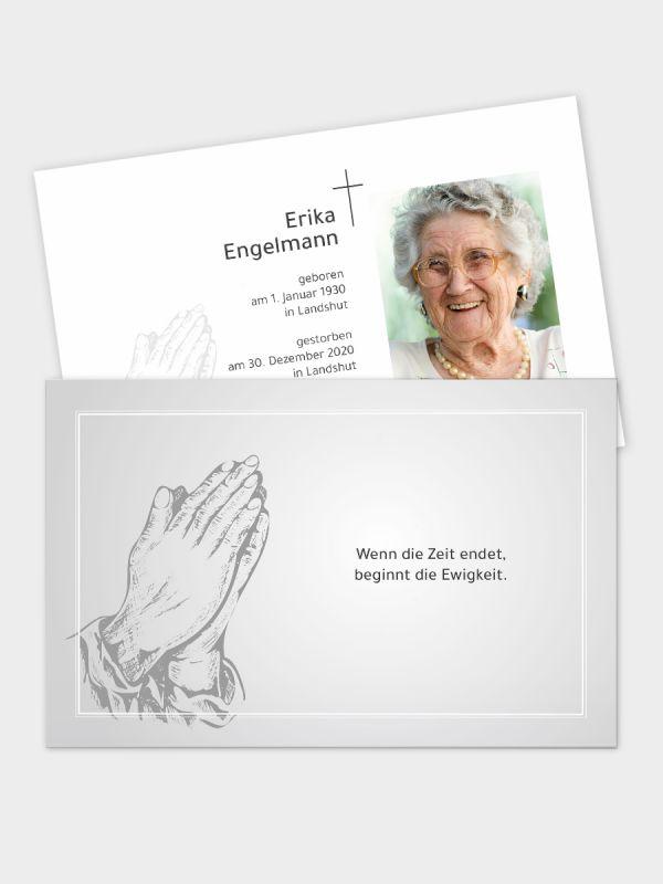 2-seitige Trauerkarte im klassischen Querformat (178 x 115 mm)   Motiv Betende Hände (Holzschnitt)   TKK_2Q_019