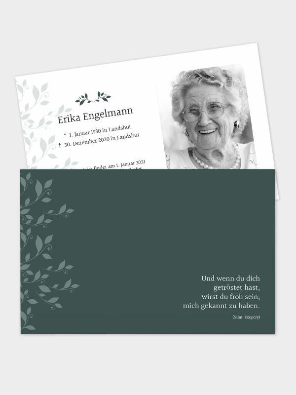 2-seitige Trauerkarte im klassischen Querformat (178 x 115 mm)   Motiv Rank-Ornamente   TKK_2Q_023