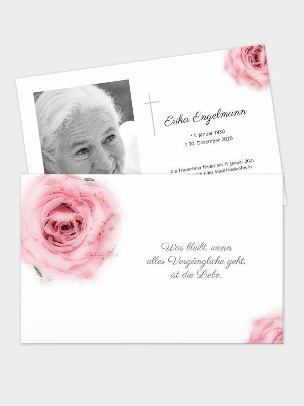 2-seitige Trauerkarte im klassischen Querformat (178 x 115 mm)   Motiv Rose Aquarell   TKK_2Q_015