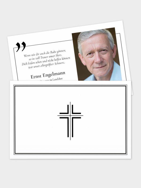 2-seitige Trauerkarte im klassischen Querformat (178 x 115 mm)   Motiv Kreuz (schmal) mit Zitat   TKK_2Q_028