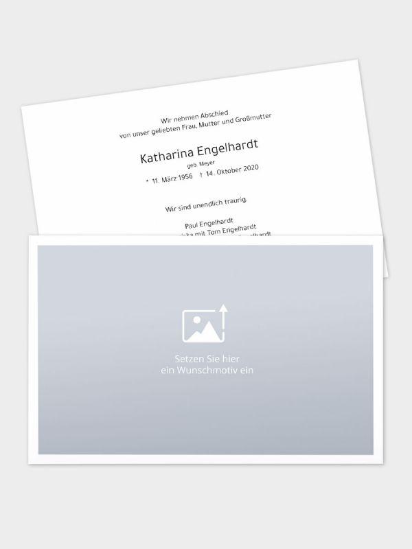 2-seitige Trauerkarte im klassischen Querformat (178 x 115 mm)   Freies Design   TKK_2Q_029