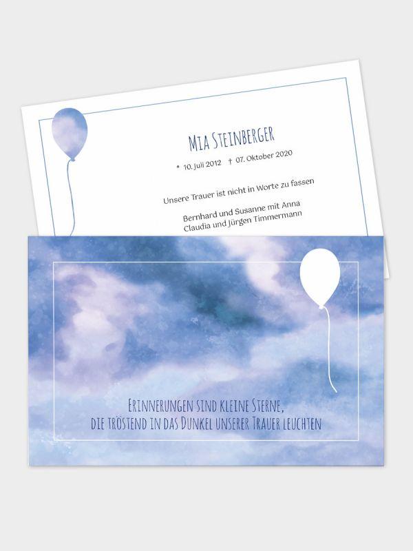 2-seitige Trauerkarte im klassischen Querformat (178 x 115 mm)   Motiv Luftballon   TKK_2Q_030