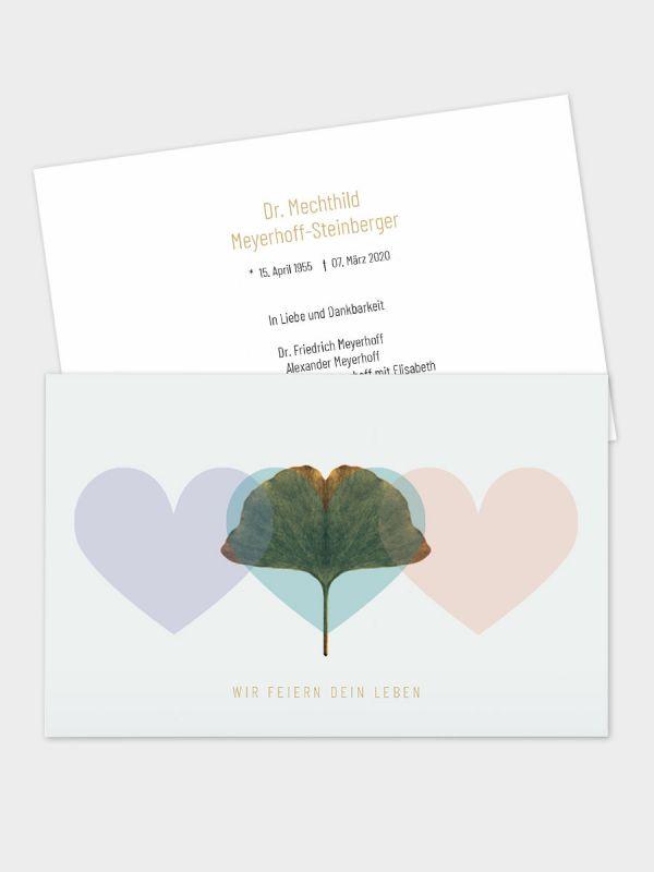 2-seitige Trauerkarte im klassischen Querformat (178 x 115 mm)   Motiv Ginkgo-Herzen   TKK_2Q_031