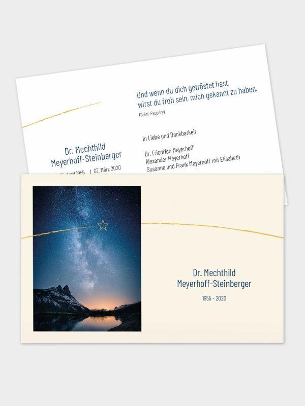 2-seitige Trauerkarte im klassischen Querformat (178 x 115 mm)   Motiv Sternenhimmel   TKK_2Q_032