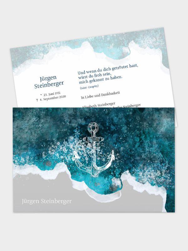 2-seitige Trauerkarte im klassischen Querformat (178 x 115 mm)   Motiv Meeresrauschen   TKK_2Q_033