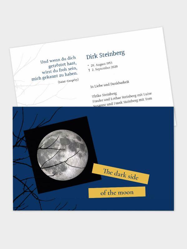 2-seitige Trauerkarte im klassischen Querformat (178 x 115 mm)   Motiv Mond   TKK_2Q_034