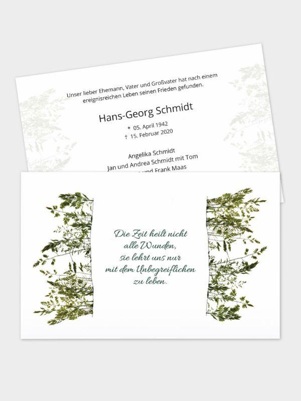 2-seitige Trauerkarte im klassischen Querformat (178 x 115 mm)   Motiv Herbarium   TKK_2Q_037
