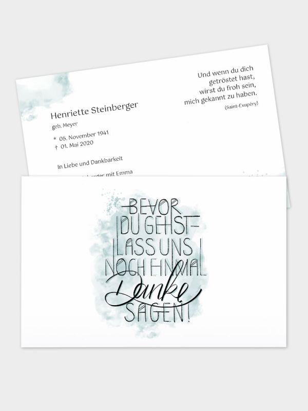 2-seitige Trauerkarte im klassischen Querformat (178 x 115 mm)   Motiv Bevor du gehst (Handlettering)   TKK_2Q_039