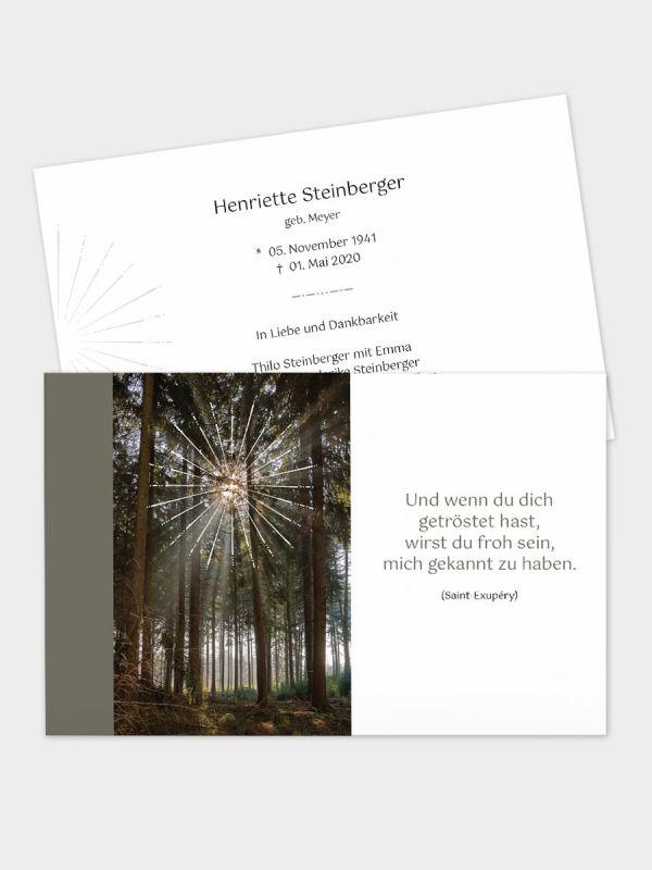2-seitige Trauerkarte im klassischen Querformat (178 x 115 mm)   Motiv Lichtstrahlen   TKK_2Q_041