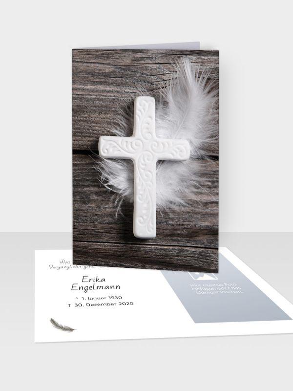 Erinnerungsbild - Kleinere Klappkarte mit Trauerbild/Sterbebildchen (74 x 105 mm)   Motiv Adieu   EB_040