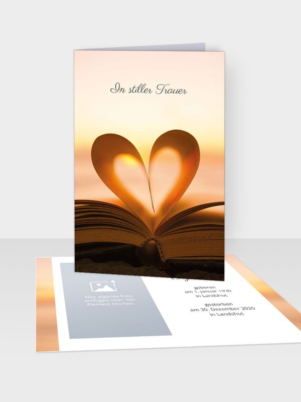 Erinnerungsbild - Kleinere Klappkarte mit Trauerbild/Sterbebildchen (74 x 105 mm)   Motiv Liebesbotschaften    XEB_006