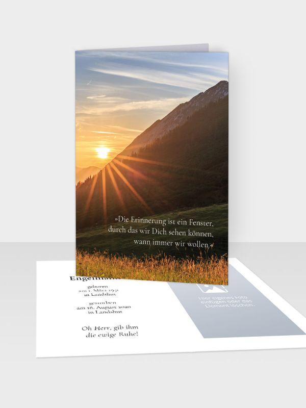 Erinnerungsbild - Kleinere Klappkarte mit Trauerbild/Sterbebildchen (74 x 105 mm)   Motiv Sonnengruß   XEB_009