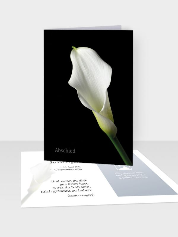 Erinnerungsbild - Kleinere Klappkarte mit Trauerbild/Sterbebildchen (74 x 105 mm)   Motiv Edle Calla   XEB_012