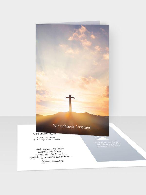 Erinnerungsbild - Kleinere Klappkarte mit Trauerbild/Sterbebildchen (74 x 105 mm)   Motiv Herbstliches Baumpaar   XEB_013
