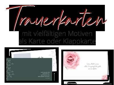 Trauerkarten in verschiedenen Formaten