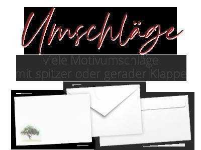 Trauerumschläge/Briefhüllen in verschiedenen Formaten